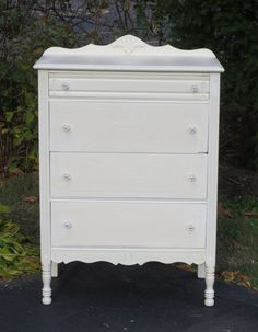 shabby chic almond white vintage four drawer by missrobinsnest, $275.00