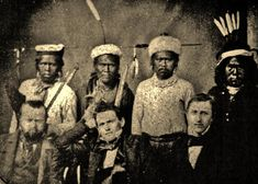 NISENAN LEADERS WITH THREE TREATY COMMISSIONERS , 1851