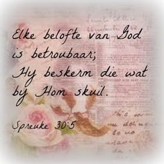 "Teks - ""Elke belofte van God is betroubaar; Hy beskerm die wat by Hom skuil. Uplifting Christian Quotes, Christian Quotes Images, Christian Messages, Psalms Quotes, Scripture Quotes, Jesus Quotes, Bible Verses, Scriptures, Afrikaanse Quotes"
