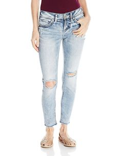 Silver Jeans Women's Suki Mid Rise Ankle Skinny Jean -- This is an Amazon Affiliate link. Check out this great product.