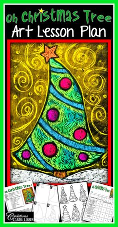 Christmas Art Lesson Plan : Oh Christmas Tree ! Christmas Art For Kids, Christmas Art Projects, Christmas Tree Art, Simple Christmas, Xmas, Art Lessons For Kids, Art Lessons Elementary, Grade 1 Art, Scratch Art