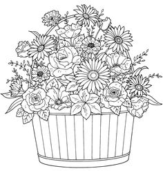 Oh! Wouldn't this be fun to stitch up?! :) Coloring Books, Coloring For Kids, Coloring Sheets, Colouring, Flower Coloring Pages, Free Coloring Pages, Printable Coloring Pages, Digi Stamps, Flower Basket