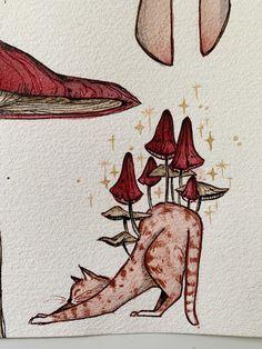 Mystical Creatures Drawings, Mushroom Art, Mushroom Drawing, Mythical Creatures Drawings, Hippie Art, Tattoo Wall Art, Art, Trippy Drawings, Dark Art Drawings