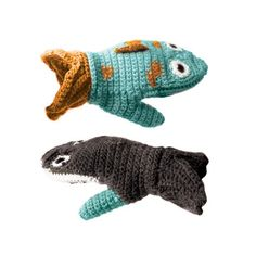 If only this was Shark vs. Fish...  mittens by Horray Hoopla.