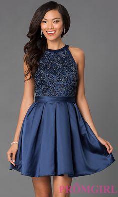 Image of short sleeveless high neck embellished bodice fit and flare dress Front Image