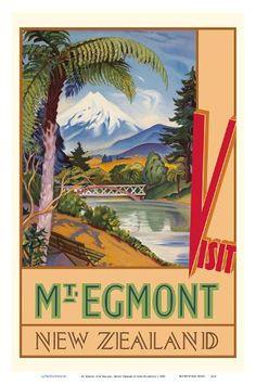 Egmont, New Zealand - Mount Taranaki - New Zealand Railways by John Holmwood : New Zealand Art, New Zealand Travel, National Park Posters, National Parks, Tourism Poster, Kiwiana, Poster Prints, Art Prints, By Train