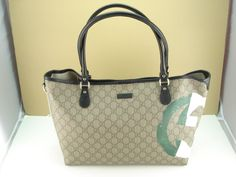 GUCCI JOY GG CANVAS LEATHER ITALIAN FLAG COLLECTION TOTE BAG BEIGE BLACK NEW  #Gucci #Totes Shoppers $599