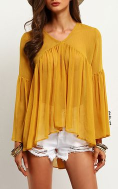 Yellow Bell Sleeve Ruffle Blouse