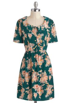 Heirlooms and Blooms Dress - Floral, Peter Pan Collar, Casual, A-line, Short Sleeves, Collared, Mid-length, Green, Orange, Buttons