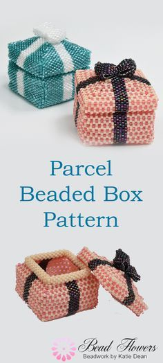 This beading pattern shows you how to make cute beaded gift boxes shaped like a parcel. This is a Peyote stitch beading pattern and it uses Delica seed beads. Designed by Katie Dean, Beadflowers