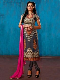 Grey Georgette Suit With Zari Embroidery And Handwork