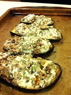 Ricotta and Artichoke Stuffed Eggplant -- a great side dish or appetizer -- from Beauties and the Feast. Follow us on Facebook: https://www.facebook.com/beautiesandthefeast