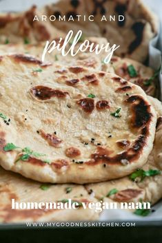 Make your own soft, pillowy, aromatic fight-over-the-last-piece vegan naan at home with this simple skillet recipe | www.mygoodnesskitchen.com | #naan #vegan naan #vegan cooking #bread