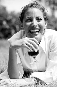 Christy Turlington (with a sneaky wine)