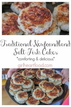 Mom-in-law'sTraditional NewfoundlandSalt Cod Fish Cakes! These are made with some simple ingredients like salt cod potato onion savoury and flour. They are a tasty iconic dish of Newfoundland. Comforting and delicious they hit the spot every time. Salt Fish Recipe, Fish Cakes Recipe, Cod Fish Cakes, Cod Cakes, Cod Fish Recipes, Seafood Recipes, Cooking Recipes, Snack Recipes, Newfoundland Recipes