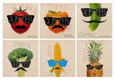 wąsy, warzywa, owoce, okulary...