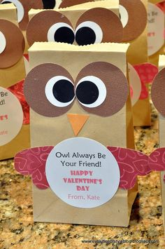 Owl Valentine Treat Bags for Kids
