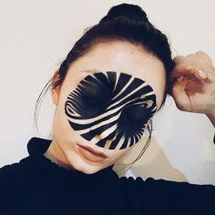 Optical illusion face paint makeup