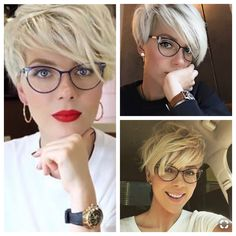 """The short cut called """"pixie cut"""" is more and more popular among people and the street. To know everything about this trendy haircut, we asked Patrick Lagré, artistic director of the Toni & Guy hair salons . Short Hair Glasses, Short Hair Makeup, Beach Hair Color, Curled Wedding Hair, Layered Pixie Cut, Red Blonde Hair, Brown Hair, Short Hair Cuts For Women, Hair Highlights"""