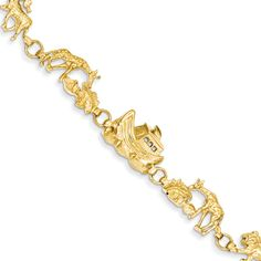 Noah's Ark Bracelet made in yellow gold. A beautiful rendition of Biblical story of Noah's Ark made into a quality, fine yellow gold bracelet. Bow Jewelry, 14k Gold Jewelry, Fine Jewelry, Women Jewelry, Christian Bracelets, Christian Jewelry, Enchanted Jewelry, Black Hills Gold Jewelry, Bracelet Making
