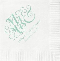 Mr. & Mrs. Custom Cocktail Napkins