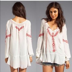 Free People Embroidered Tunic Top Like new. Taking offers in this top Free People Tops Tunics