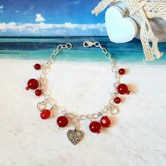 Summer Bracelets, Summer Jewelry, Amazing Gifts, Beautiful Gifts, Heart Bracelet, Charm Bracelets, Stocking Fillers, Stocking Stuffers, Etsy Handmade