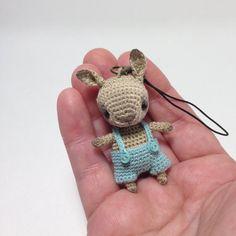 Crochet beige bunny with bobble head mini amigurumi by LozArts