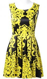 Yellow Black Sleeveless Floral Pleated Silk Dress $53.23