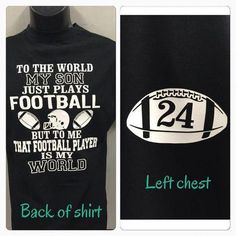 football mom shirt that football player is my world my son plays football shirt new personalized with your number Fußballmammahemd, das Fußballspieler meine Welt ist, … Football Trophies, Football Cheer, Football Quotes, Football And Basketball, Football Players, Football Humor, Football Season, Football Moms, Football Awards