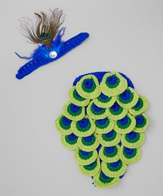 Look at this Adorable Me XO Blue & Green Peacock Cover & Headband on #zulily today!