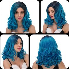 Charming Medium Wavy Side Parting Black Mixed Blue Women's Cosplay Lolita Synthetic Wig