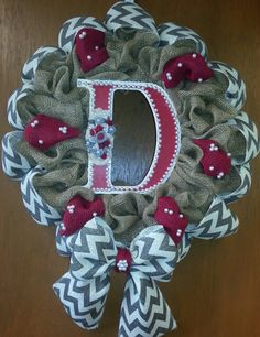 Burlap and Chevron Wreath! Accented with initial and felt flowers!