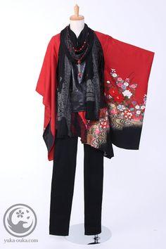 J mix Japanese Coat, Japanese Yukata, Japanese Costume, Japanese Outfits, Modern Japanese Clothing, Modern Kimono, Chinese Clothing, Kimono Fashion, Lolita Fashion