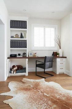Dog Bed Built-in Home Office Desk Office Built Ins, Home Office Desks, House Design, Interior, Home, House Interior, Home Office Design, Built In Dog Bed, Decorate Your Room