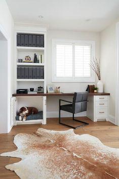 Dog Bed Built-in Home Office Desk Built In Dog Bed, Built In Desk, Home Office Design, Home Office Decor, House Design, Dog Home Decor, Dog Nook, Office Nook, Corner Office Desk