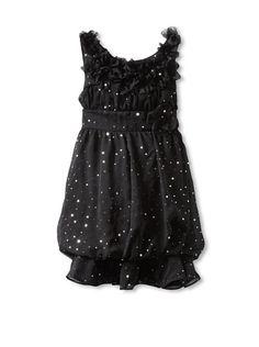 35% OFF Hype Girls 7-16 Foil Dot Chiffon Dress (Black)