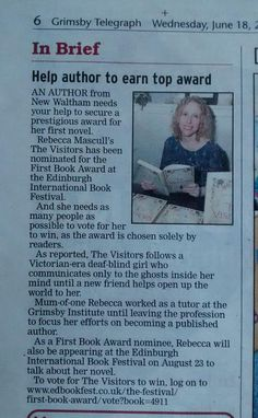Grimsby Telegraph helps spread the word about voting in the Edinburgh Festival First Book Award.