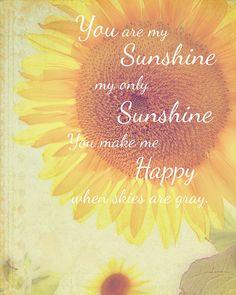 Your Are My Sunshine Nursery Art, Sunflower Photo, Nursery Wall Art, Nature Naturalist Rustic Home Decor Nature Photograph Fine Art Print