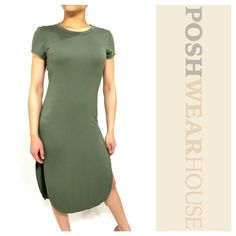 "Army Green Midi Tee Shirt Dress w/ High Splits NWOT • Pullover application • Cute with shorts or leggings • GREAT stretch • Super comfy • Length 46"" • Bust 32"" - 38"" • Waist 28"" - 30"" • Splits 20"" • Rayon & Spandex • Sized Large, but, fits MEDIUM.   Like what you see? Follow me! On PM @PoshWearHouse On IG www.instagram.com/PoshWearHouse On FB www.facebook.com/PoshWearhouse Poetry Dresses Midi"