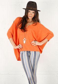 Minnie Rose Cashmere Pow Wow Sweater in Hermes Orange