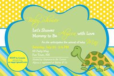 Baby Shower Invitation Turtle  Turtle Baby by AsYouWishCreations4u, $14.00