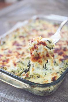 "Spinach Artichoke ""Pasta"" Bake  #Clean Eating #Gluten Free #Spaghetti Squash"