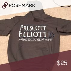 NWT charcoal Dak Prescott/Ezekiel Elliot hoodie. NWT: Charcoal grey Dak Prescott/Ezekiel Elliot youth small hoodie. Purchase for my grandson for Christmas and it was too small. Tops Sweatshirts & Hoodies