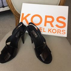 """KORS Michael Kors black patent heeled sandals Beautiful black patent leather strappy """"KORS """" Michael Kors sandals with 5 inch heels. The style is """"wicked"""". More pics if needed! Great cot! KORS Michael Kors Shoes Heels"""