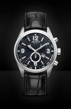 ADVOLAT VOYAGE Swiss Made Chronograph, Tachymeter, Stainless Steel Casing, Face black/grey, Leather Bracelet black, Ref. 88006/2-L2 Saddle Leather, Grey Leather, Limited Edition Watches, Watches Online, Stainless Steel Case, Chronograph, Omega Watch, Rolex Watches, Black And Grey