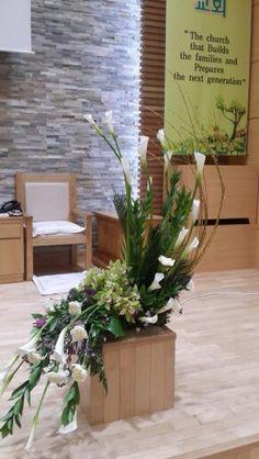 This is my first flower arrangement church.