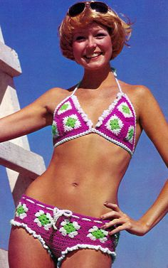 Vintage 70s Sexy Hip Hugger Bikini Granny Square by 2ndlookvintage...Wow!! Mabe 10 years ago☺