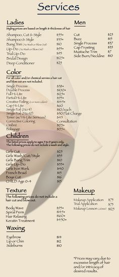 Modern Minimalist Salon Price List Service Menu  Price List Ideas