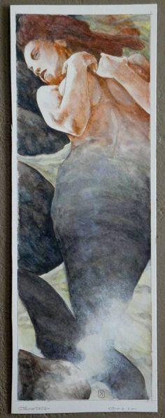 Original Mermaid Painting by Michael Zulli